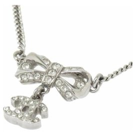 Chanel-Chanel Silver CC Ribbon Rhinestone Pendant Necklace-Silvery
