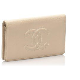 Chanel-Chanel Brown CC Caviar Leather Bifold Wallet-Brown,Beige