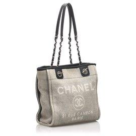 Chanel-Chanel Gray Deauville Canvas Tote Bag-Black,Grey