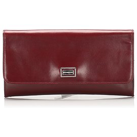Burberry-Burberry Red Leather Clutch Bag-Red,Dark red