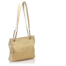 Chanel-Chanel Brown CC Straw Tote Bag-Brown,Light brown