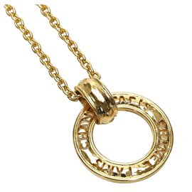 Chanel-Chanel Gold Ring Pendant Necklace-Golden