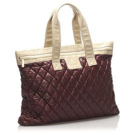 Chanel-Chanel Red Coco Cocoon Lambskin Leather Tote Bag-Brown,Red,Beige,Other