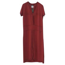 Chanel-Chanel Red Cotton  Dress Sz 42-Red