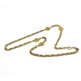 Chanel-CHANEL coco mark long necklace GP necklace-Other