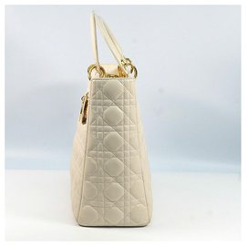 Dior-Dior Christian Christian Lady Cannage Womens handbag ivory x gold hardware-Cream,Gold hardware