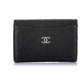 Chanel-Chanel Black CC Matelasse Lambskin Leather Card Holder-Black