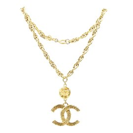 Chanel-Chanel Gold CC Textured Chain Charm Necklace-Golden