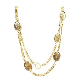 Chanel-Chanel Gold 6 Motifs Crown CC Charms Necklace-Golden