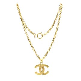 Chanel-Chanel Gold CC Hammered Matte Necklace-Golden
