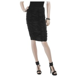Burberry-Ruched black skirt-Black