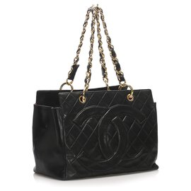 Chanel-Chanel Black Timeless Shopping Lambskin Leather Tote Bag-Black