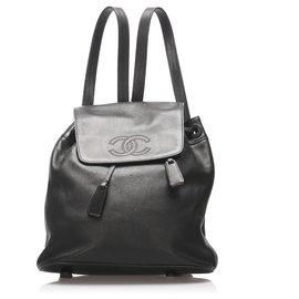 Chanel-Chanel Black CC Lambskin Leather Drawstring Backpack-Black
