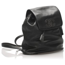 Chanel-Chanel Black CC Lambskin Leather Drawstring Backpack-Black