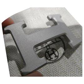 Hermès-Hermès belt buckle in matt silver PVD steel 32MM-Silvery