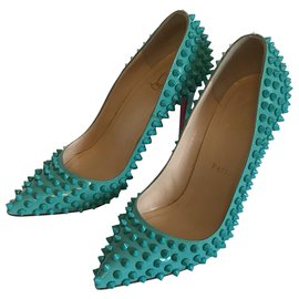 Christian Louboutin-Christian Louboutin Pigalle Spikes Pumps-Turquoise