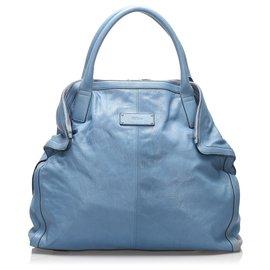Alexander Mcqueen-Alexander McQueen Blue De Manta Leather Tote Bag-Blue,Light blue