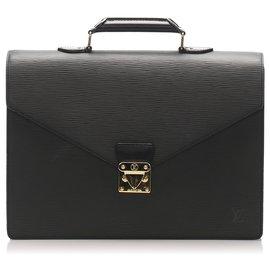 Louis Vuitton-Louis Vuitton Black Epi Serviette Ambassadeur-Noir