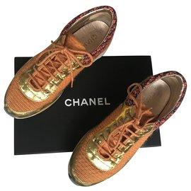 Chanel-Runway Tweed Trainers-White,Blue,Golden,Orange