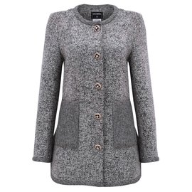Chanel-jewel button coat-Grey