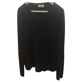 Acne-Acne studded linen knit sweater Precious, size M-Black,Silvery