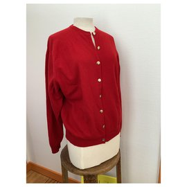 Burberry-Vintage Burberry wool cardigan-Red