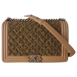 Chanel-CHANEL BOY TWEED GOLD BAG-Golden
