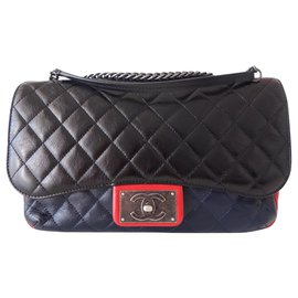 Chanel-TRICOLOR CLASSIC CHANEL BAG-Black,Red,Navy blue