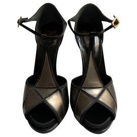 Roger Vivier-Metalized leather high sandals-Metallic