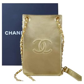 Chanel-Chanel Gold Patent Leather CC Phone Holder Crossbody Bag-Golden