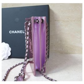 Chanel-Chanel Pink Patent Leather CC Phone Holder Crossbody Bag-Pink