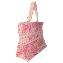 Dior-DIOR sac cabas toile de jouy-Rouge,Beige