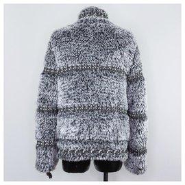 Chanel-veste tendance en fausse fourrure-Gris anthracite
