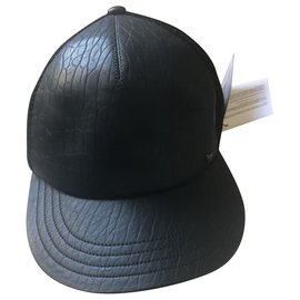 Maison Michel-Maison Michel leather cap-Black