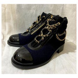Chanel-Ankle Boots-Navy blue