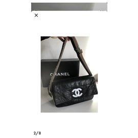 Chanel-Logo strap-Black,White