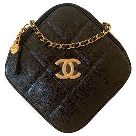 Chanel-Runway Black Caviar Leather Diamond Cut Bag Gold Chain-Black