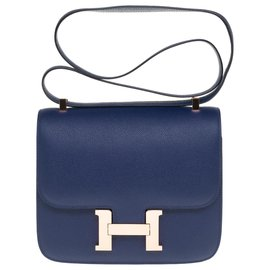 Hermès-Exceptional Hermès Constance handbag 23 in sapphire blue epsom leather, rose gold plated metal trim, in excellent condition!-Blue