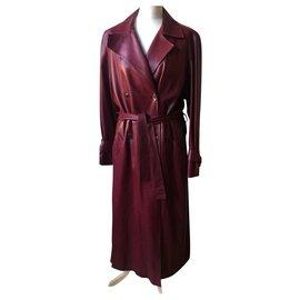 Hermès-Coats, Outerwear-Dark red