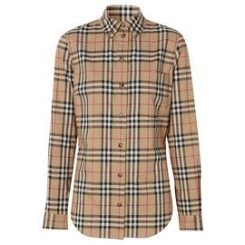 Burberry-BURBERRY Button-down Collar Vintage Check Stretch Cotton Shirt-Multiple colors