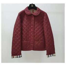 Burberry-Burberry Red London Classic Quilted Jacket Vest Sz.S-Dark red