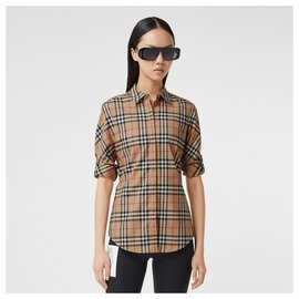 Burberry-BURBERRY Vintage Check Stretch Cotton Twill Shirt-Multiple colors,Beige