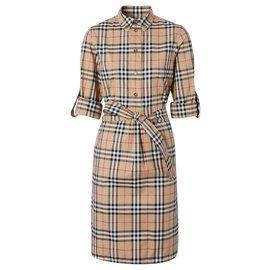 Burberry-BURBERRY Vintage Check Stretch Cotton Tie-waist Shirt Dress-Multiple colors