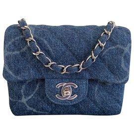 Chanel-Blue Denim Square Mini Single Flap Handbag Shiny Silver Hardware-Blue