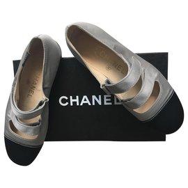 Chanel-Mary Jane Ballet Flats-Black,Grey