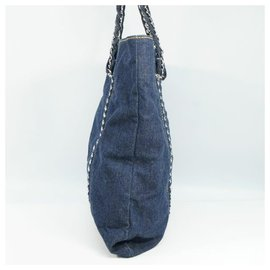 Chanel-CHANEL coco mark chain tote Womens tote bag blue x silver hardware-Blue,Silver hardware