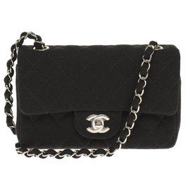 Chanel-Splendid Chanel Mini Timeless handbag in black tweed, Garniture en métal argenté, New condition-Black