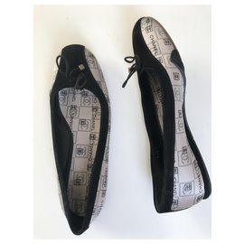 Chanel-CC Logo Ballet Flats-Black,Beige,Grey