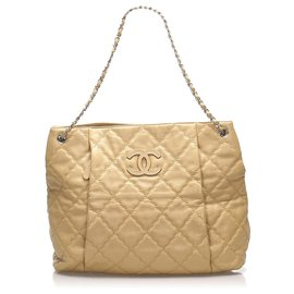 Chanel-Chanel Brown CC Tote Bag-Brown,Beige