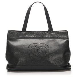 Chanel-Chanel Black CC Lambskin Leather Tote Bag-Black